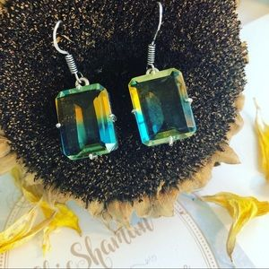 Bi-Color Tourmaline Ethnic 925 Silver Earrings
